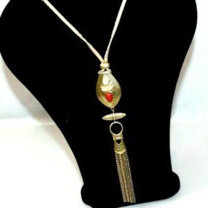 Lucky Brand Women Necklace Gold Tone Metal Gem Sto